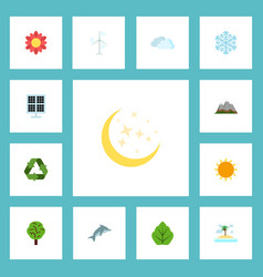 flat icons sun power conservation isle beach and vector image vector image