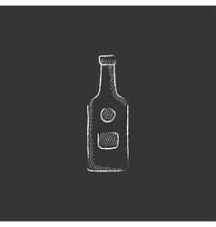 Glass bottle Drawn in chalk icon vector image vector image