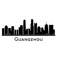 Guangzhou city skyline black and white silhouette vector