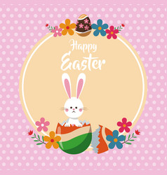 Happy easter bunny broken egg floral dots vector