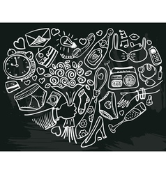 heart doodles vector image