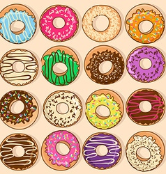 Icons of colorful donuts vector image vector image