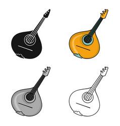 Italian mandolin icon in cartoon style isolated on vector