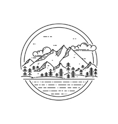 line emblem with mountain landscape forest vector image vector image