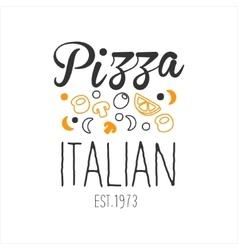 Many ingredients premium quality italian pizza vector
