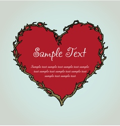Ornamental branch heart template for design vector