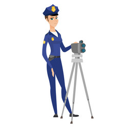 Police woman with radar for traffic speed control vector