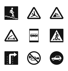 Road sign icons set simple style vector
