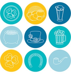 Set of linear icons on St Patricks Day Flat design vector image