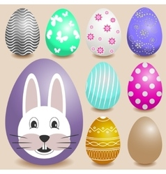 Set of realistic Easter eggs vector image vector image