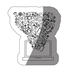 sticker grayscale contour with laptop and internet vector image