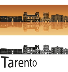 Tarento skyline in orange background vector image