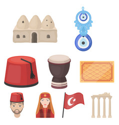 Turkey set icons in cartoon style big collection vector