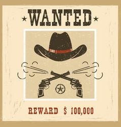 Wanted cardwestern vintage paper vector