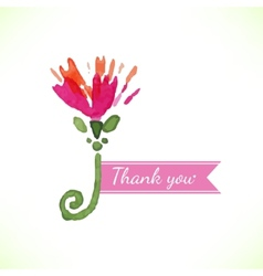 Watercolor beautiful decorative flower with thank vector image vector image
