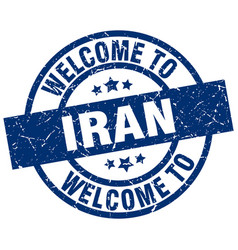 Welcome to iran blue stamp vector