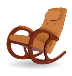 Wooden rocking chair vector