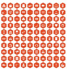 100 coin icons hexagon orange vector