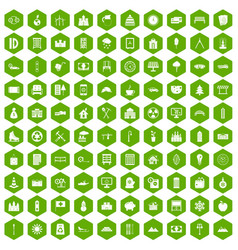 100 villa icons hexagon green vector