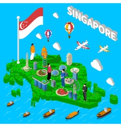 Singapore map touristic symbols isometric poster vector