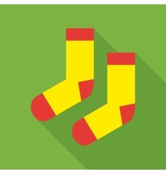 Pair of woolen socks icon flat style vector