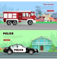 Fire truck driving to the and police car vector