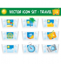 Set travel icons vector