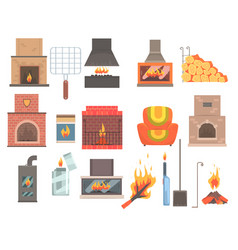 Indoors and outdoors fireplaces and bonfires with vector