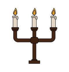 Color image candlestick with base and candles vector
