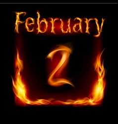 Second february in calendar of fire icon on black vector