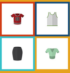 Flat icon clothes set of singlet stylish apparel vector