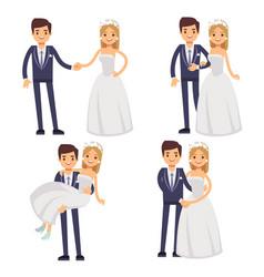 cartoon wedding couple just married vector image