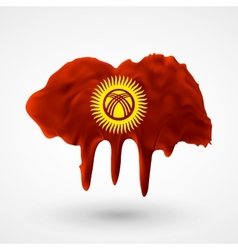 Flag of kyrgyzstan painted colors vector