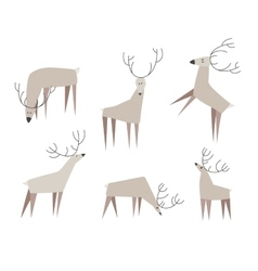 Set of fancy deers vector