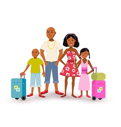 African american family summer vacation travel vector