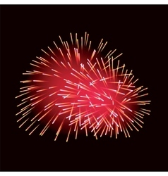 Red fireworks on dark background vector