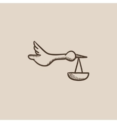 Baby basket with stork sketch icon vector