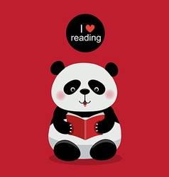 Cute panda reading a book on red background vector