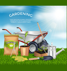 Gardening tools design concept set vector