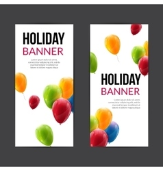 Set holiday banners with colorful balloons vector