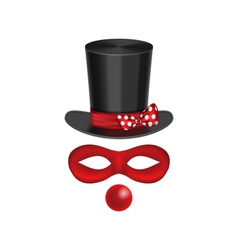 accessories for clown - hat mask red nose are vector image vector image