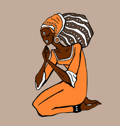 African woman in ethnic style vector