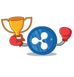 Boxing winner ripple coin character cartoon vector