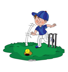 Boy playing cricket vector