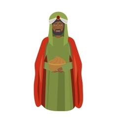 Brunette wise man melchor kneel down vector