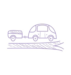 Car with trailer on the road vector