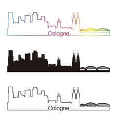 Cologne skyline linear style with rainbow vector