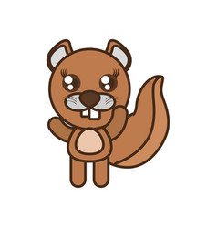 Cute beaver toy kawaii image vector