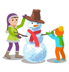 cute kids making a snowman vector image vector image