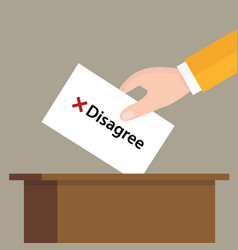 Disagree cross mark choice vote hand putting a vector